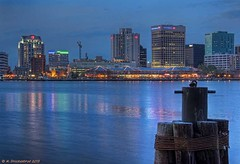 Downtown Norfolk as seen from Portsmouth Virginia (PhotosToArtByMike) Tags: night virginia lowlight downtown norfolk va portsmouth norfolkvirginia elizabethriver norfolkskyline