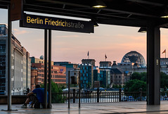 Station with a view - Berlin Friedrichstrae (Maria_Globetrotter) Tags: travel boy sunset man building berlin tourism beautiful station architecture train wow wonderful river germany deutschland golden design photo interesting shoes europe day sonnenuntergang view shot framed sommer flag awesome sightseeing over eu bahnhof visit tourist flags nike clear reichstag german hour cupola ubahn alemania government framing ora typical sbahn spree tyskland bundestag allemagne doro sommar gyllene goldene tunnelbana deutscher reichstagsgebude   stunde timmen tgstation  mariaglobetrotter