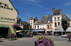 Doullens, centre ville (Ytierny) Tags: france fleur horizontal architecture commerce place pierre terrasse btiment centreville picardie edifice somme doullens ytierny
