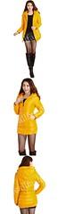 เสื้อแจ็คเก็ตยาวพร้อมหมวกฮู้ดบุภายในด้วยขนเป็ดเกรดเออบอุ่นเนื้อผ้าเงางามกันฝนกันหิมะได้ดี-CJ-0001-สีเหลือง