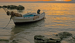 Moored Boat (A Pefkos beach - Rhodes Greece) (Fuji XM1 & 27mm F2.8 Pancake) (markdbaynham) Tags: sunset sea beach greek boat fuji hell