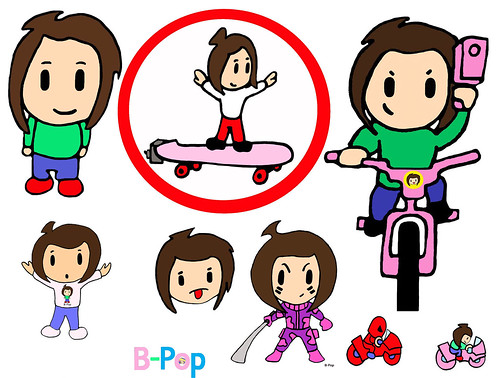 B Pop Mason Motorcycle Bike Fun Art Pee Wee Kid Skateboard Camo Ninja Sword Bad