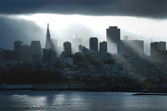Skyline (Andrew Louie Photography) Tags: above morning blue coffee skyline san francisco moments cityscape close jazz rays encounters