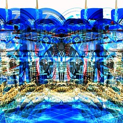 Mirrored Marine Landscape (unclebobjim) Tags: blue abstract france square gold dijon burgundy basin oldtown winch barge hdr squarecrop newreality abstractcomposite maxfudge
