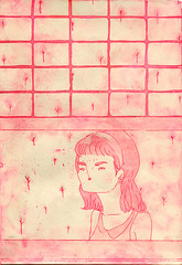 voyeur pink (ultraviolencefilter) Tags: window girl etching aquatint aquafortis