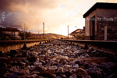 Away (AlessandroAiello) Tags: sunset sky clouds train nikon tramonto nuvole stones pietre cielo rails treno binari cosenza d3100