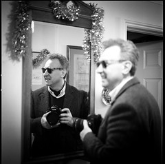 New Years Day Selfie 2014 (John   Adrian   Orr   Photography) Tags: zeiss tripod hasselblad ilfordhp5 planar 80mm 500cm cablerelease scannedonepsonv500