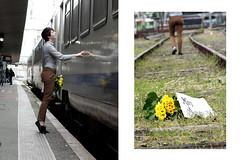 Les Jonquilles (Pey Nuns) Tags: portrait love girl train fleurs scene amour