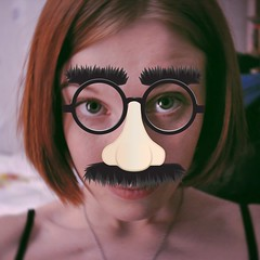 (Osyam-osyam) Tags: red portrait haircut color girl face self hair fun nose glasses 22 eyes purple lips redhead moustache chain clipart eyebrows