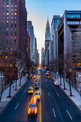 42nd Street (Amar Raavi) Tags: 42 street newyork nyc cityscape skyscrapers chryslerbuilding buildings lighttrails traffictrails bluehour dusk urban overlook road taxi cab yellow tudorcity murrayhill manhattan midtown outdoors