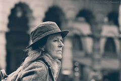 Portrait (Natali Antonovich) Tags: portrait sweetbrussels brussels belgium belgique belgie lifestyle reverie stare grandplace monochrome hat hatisalwaysfashionable hats tradition tourists travelers spectator
