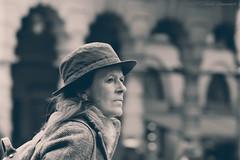 Portrait (Natali Antonovich) Tags: portrait sweetbrussels brussels belgium belgique belgie lifestyle reverie stare grandplace monochrome hat hatisalwaysfashionable hats tradition tourists travelers spectator