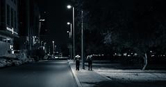 Walking Home (relishedmonkey) Tags: nikon d5300 walking men people street lighting night outdoor road abu dhabi city urban cars side foot path walk travel shade tree middle two together friend work uae 35mm 18g late midnight