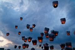 Up, Up, and Away (Rice Bear) Tags: shifen taiwanpingxiskylanternfestival pingxidistrict newtaipeicity taiwan tw pingxi sky lantern paper clouds balloons dusk sunset blue bluehour travel travelgram adventures