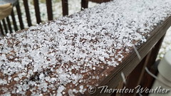 April 4, 2017 - Ice pellets accumulate in the evening. (ThorntonWeather.com)