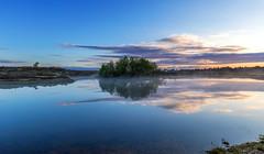 Slufter Reflections (nicklucas2) Tags: slufters pond water reflection newforest gorse mist landscape cloud tree
