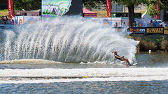 Queen of the Deltoid (Pat Charles) Tags: moomba masters waterski waterskiing skiing ski water yarra river splash turn curve carve slalom race compete competition athlete final melbourne victoria australia