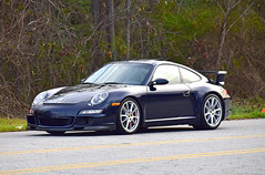 2008 Porsche 911 GT3 (Thumpr455) Tags: upstatecarscoffee greenville sc march 2017 nikon d5500 afnikkor70300mmafpvr flatsix worldcars 2008 porsche 911 gt3 german blue 997 wing