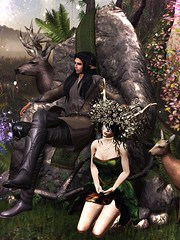 Savage Master Throne (moonshagoreanstore) Tags: savage fantasy medieval old forest fairy elf elve elven gor gorean goreano goreana legolas pixie rock stone throne cloth summer spring autumn winter moss mossy deer cute mesh gacha carnival grass flower branch branches tree sl second life item