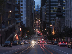 San Francisco Nights (andre adams) Tags: travel buildings urban architecture cityscape lights traffic perspective city cablecar cinematic nightscape sanfrancisco usa baybridge downtown
