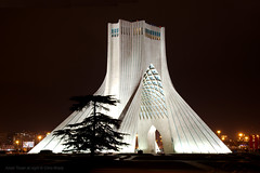 The Azadi Tower at night (Chris Brady 737) Tags: azadi tower tehran iran night monument shahyad marble persia