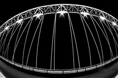 Suspension Bridge (_Matt_T_) Tags: stcatharines burgoynebridge nightphotography singlechallenge ontario siapr2017 bw stpaulsstreet smcpk17mmf40fisheye le