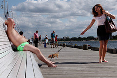 Summer. (tetyanabunyak) Tags: summer beach sky dog girl sunbathe sun sea bench sopot poland colorst