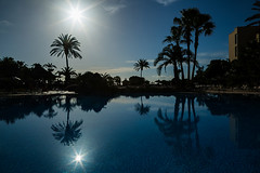 Morning at the pool (Darren Frodsham) Tags: fuerteventura pool sunrise reflection sun silhouette outdoors spain vacation holiday holidays summer palm plamtree palmtrees sky water blue darrenfrodsham canon canonef24105mmf4lisusm canon5dmarkiii canaryislands