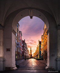 Poland, Gdansk, Dluga Street from Golden Gate (dleiva) Tags: dleiva domingo leiva architecture dusk photography twilight city house town hall golden gate pedestrian zone poland outdoors color image vertical history famous place emotion illuminated incidental people building exterior district mannerism food drink gdansk atmospheric mood dluga street historic light natural phenomenon