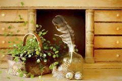 Still life (BirgittaSjostedt-travelling, back Sunday 23 April.) Tags: still stilllife flower basket glass feather egg furniture easter birgittasjostedt paint texture