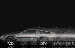 "Back in time - ""Intentional Blur"" (jeff's pixels) Tags: intentionalblur macromondays backtothefuture delorean car toy hotwheels matchbox macro fun blue motion action nikon"