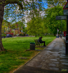 Project 365; #116 (iMalik1) Tags: project 365 days photo day challenge after rain wet ealing green park road cars work walking home clouds sky trees grass sign post street people bench sitting photography hdr imalik canon eos m3 22mm efm photographer