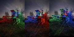 RGB Combine Triptych (Notley) Tags: farm rural sky clouds combine bucolic ruralfarm missouri mcbaine mcbainemissouri notley notleyhawkins 10thavenue httpwwwnotleyhawkinscom missouriphotography notleyhawkinsphotography ruralphotography boonebounty bocomo boonecountymissouri light lightpainting greenlight green night nocturne midwest ruralusa blue bluelight red redlight rgblightpainting boonecountymo boonecounty farmimplement 2017 startrails longexposure april trio triad triptych