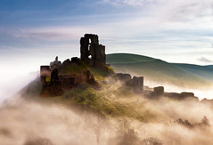 Corfe Castle (Solent Poster) Tags: corfe castle dorset pentax k1 2470mm april 2017 landscape mist fog seamist sunset uk sunrise
