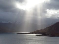 8644 Mountains, loch and sunbeams (Andy - Busyyyyyyyyy) Tags: 20170319 ccc clouds glenquoich lll lochcuiach lochquoich mist misty mmm mountains murk murky qqq reservoir rrr scotland snow sss sunbeams water www
