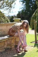 Hannah (Biscuits_yum) Tags: tieshershoes highheels ambientandflash tattoos cute fashion bench brown pretty model teenager locationshoot bendingdown sunbehind sexylegs skinny slim lithe thin greatlegs inkmodel britishcountryside gardens