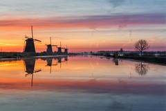 Kinderdijk Sunrise (Mario Visser) Tags: kinderdijk sunrise unesco windmill twilight color southholland travel water holland netherlands sky serene