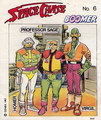 BOOMER / Space Chase 6 (micky the pixel) Tags: ephemera einwickelpapier wrappingpaper papierdemballage vignettes chewinggum kaugummi bubblegum kaugummibilder comic sf scifi sciencefiction consa boomer spacechase homer virgil professorsage