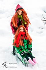Sleigh fun (astramaore) Tags: redhead mattel made move barbie yoga sleigh winter fun jacket coat smile smiling scarf sport sportswear friends girls together beauty happy