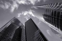 Wolkenkratzer La Défense Paris (ploh1) Tags: paris ladéfense wolkenkratzer hochhäuser frankreich architektur bw schwarzweis hauptstadt sw bürohäuser bürotürme spiegelungen