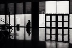 Reflect on Reflections (Kostas Katsouris) Tags: museun acropolis black white monochrome fuji xt10 fujifilm athens greece reflect reflection square lines geometry symmetry door contrast stairs sitting art light floor mirror