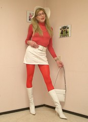 White and red. (sabine57) Tags: crossdressing transvestism crossdress crossdresser cd tgirl tranny transgender transvestite tv travestie drag boots highheels whiteboots tights pantyhose opaquetights opaquepantyhose skirt miniskirt redsweater rollnecksweater hat handbag