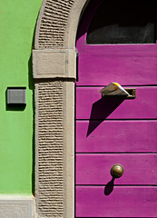 you've got mail (chiari - brescia, italy) (bloodybee) Tags: 365project mail box door gate wall house building street chiari brescia italy europe purple violet green handle shadow