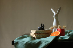 Eutopia (alideniese) Tags: stilllife childlike childish whimsical rabbits statuettes figurines books orange jug light colour stilllifephotography