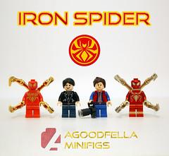 Iron Spider [COMICS] [CUSTOM] (agoodfella minifigs) Tags: lego marvel marvellego legomarvel minifigures marvelcomics comics heroes spiderman ironspider peterparker amadeuscho