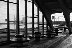 Waiting at Dubulti Train Station, Latvia (KnigChristian) Tags: bw waiting platform latvia trainstation baltics jurmala dubulti