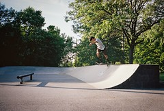 Joey Pyle - backside tailslide (MattSteindl) Tags: park street film shop diy skateboarding kodak joey pipe vert contax kinetic 400 skate skateboard quarter vans backside delaware wilmington portra 7th qp t2 pyle tailslide backtail