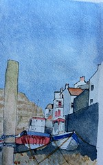 Staithes boats in beck HD (John Harrison, artist) Tags: ink sketch seaside wash watercolour staithes