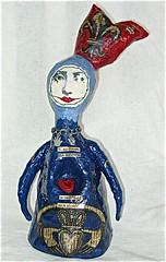 Claddagh Symbol - SOLD (bebeaschardrose) Tags: original sculpture art paper mixed media doll hand quote mixedmedia painted made romantic collectible symbols inspirational figurine mache desiderata claddagh bebethecircusqueen