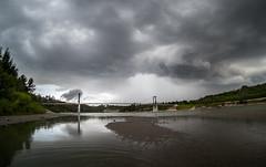 Short Thunderstorm (Kurayba) Tags: bridge canada storm water weather clouds river sand day edmonton suspension pentax footbridge fort north bad pedestrian 03 fisheye alberta valley thunderstorm saskatchewan f56 q raining 32